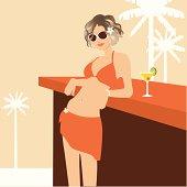 Hot Bikini Girl At a Bar With Margarita Cocktail