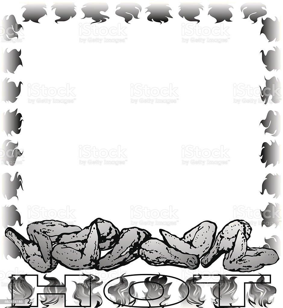 Hot Buffalo Wings Frame vector art illustration