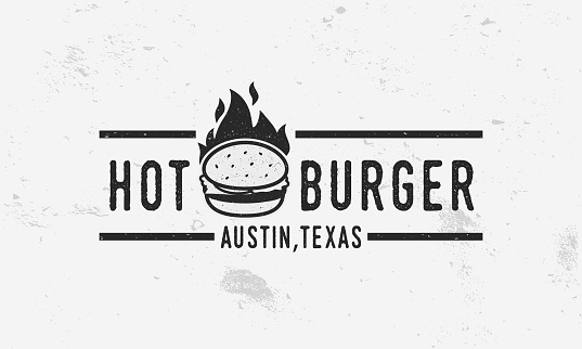 Hot Burger - logo, poster or banner template. Vintage poster for menu design restaurant, cafe or fast food. Vector illustration