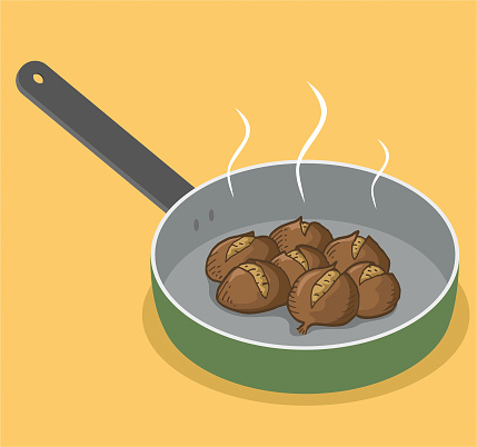 Hot chestnuts in a pan