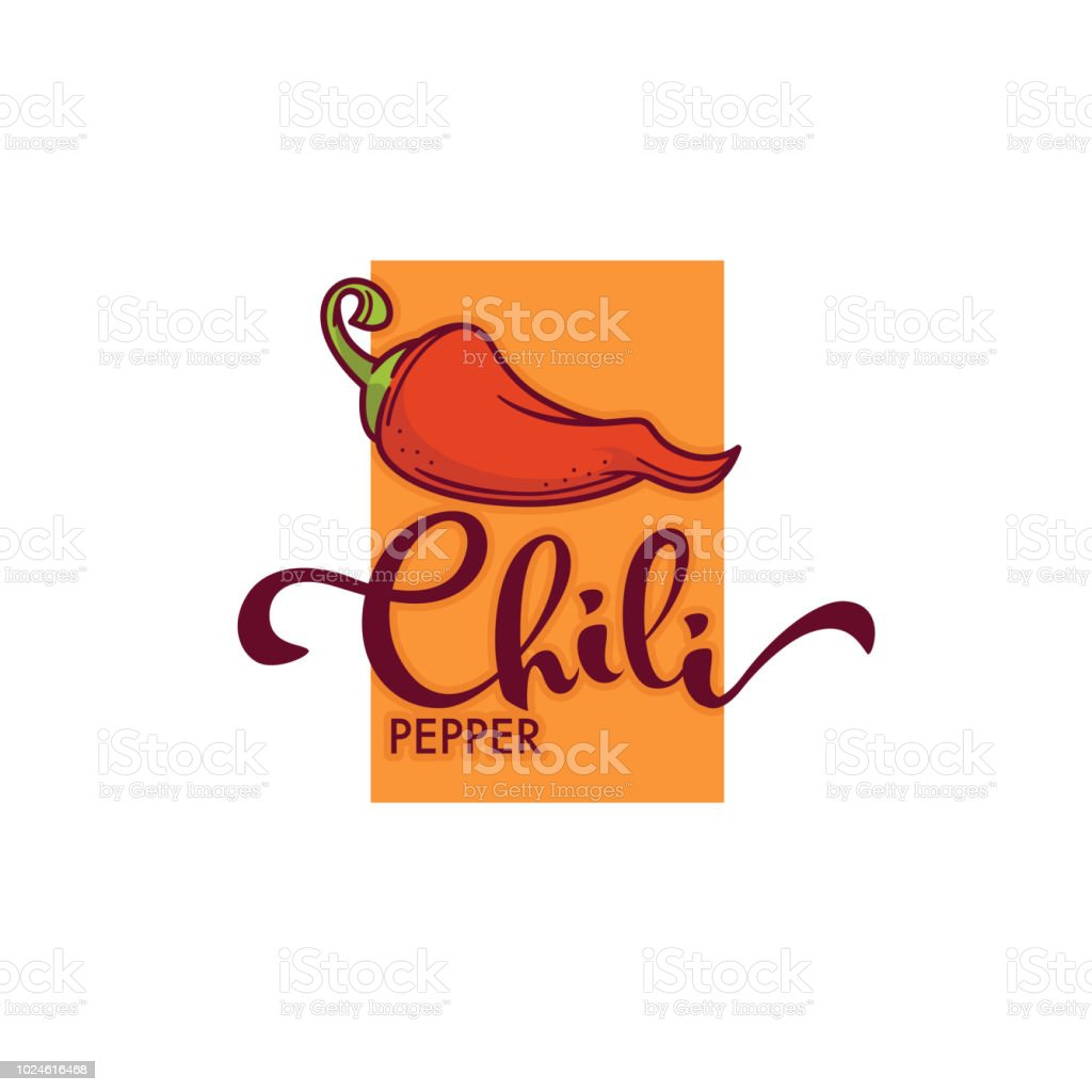 Hot chili pepper logo, icon and emblem, with hand drawn lettering composition