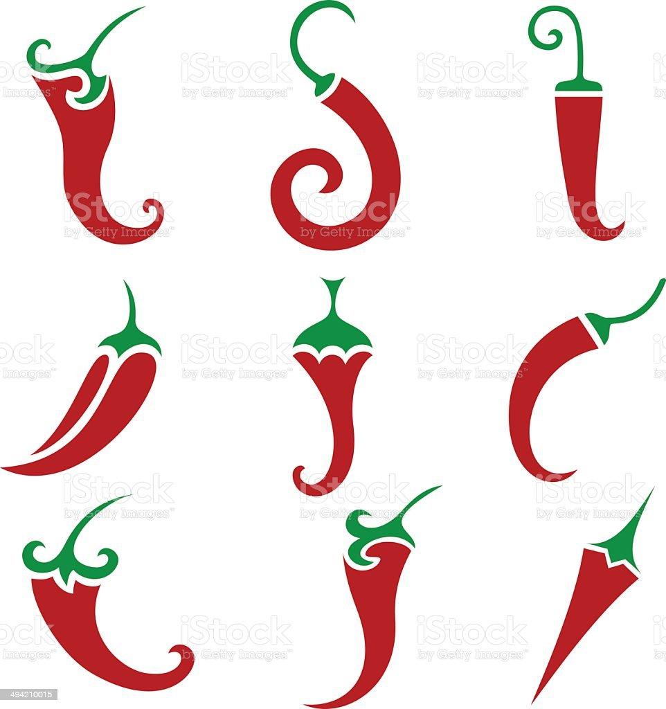 Hot chili pepper vector isolated vector art illustration