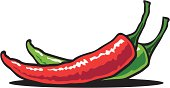 A red and green chili pepper are lying on a table. Please check out my other images :)