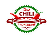 Vector emblem with red chili pepper boiling in soup. Hot spicy cuisine stylized icon.