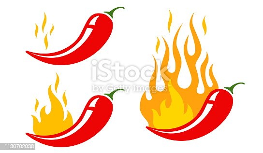 Mild, medium and hot chilli pepper. Vector emblems jalapeno or chilli peppers. Chili pepper.
