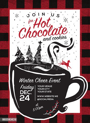 istock Hot Chocolate and cookies invitation party greeting design template 865580626