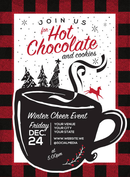 Hot Chocolate and cookies invitation party greeting design template Hot Chocolate and cookies invitation Holiday greeting design template with flannel pattern and hand drawn elements hot chocolate stock illustrations