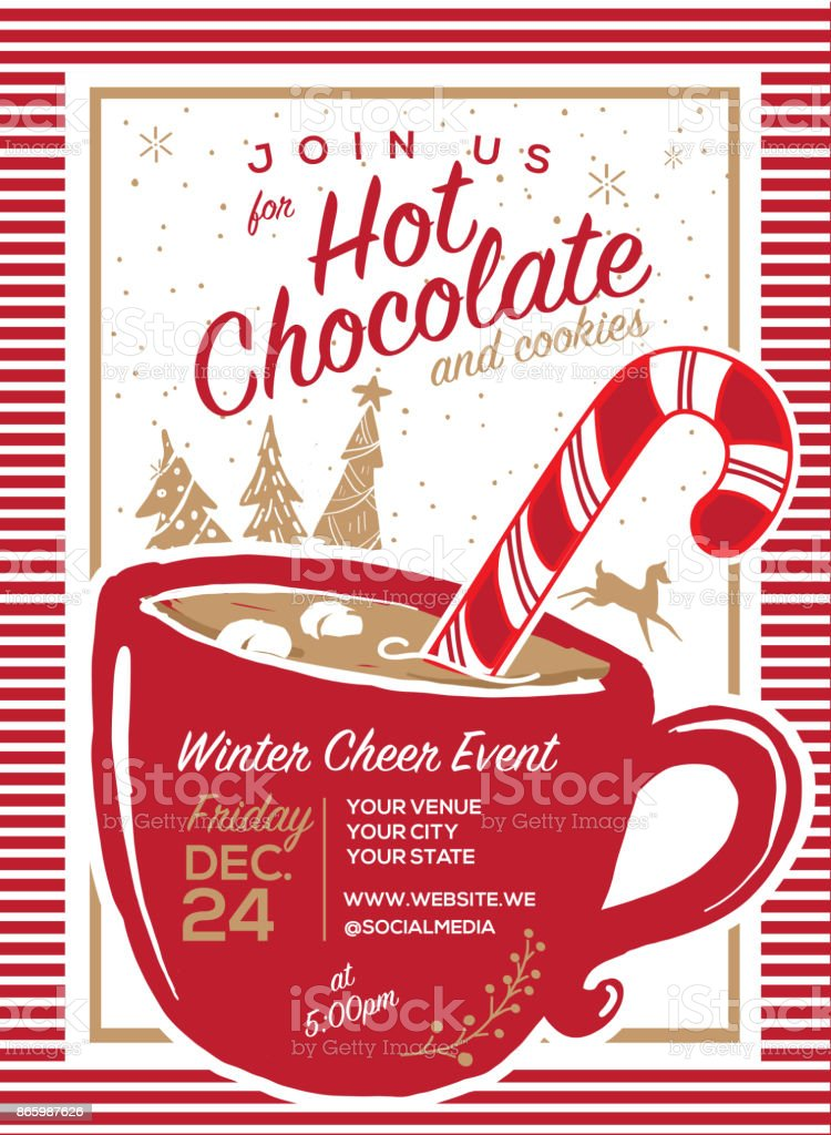 Hot Chocolate and cookies invitation party greeting design template vector art illustration