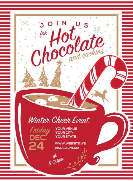 Hot Chocolate and cookies invitation party greeting design template Hot Chocolate and cookies invitation Holiday greeting design template with mug and candy cane and marshmallows and hand drawn elements hot chocolate stock illustrations