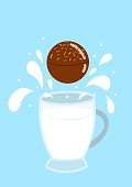 istock hot chocolate bomb with milk splash on a blue background and with a mug of milk 1291134687