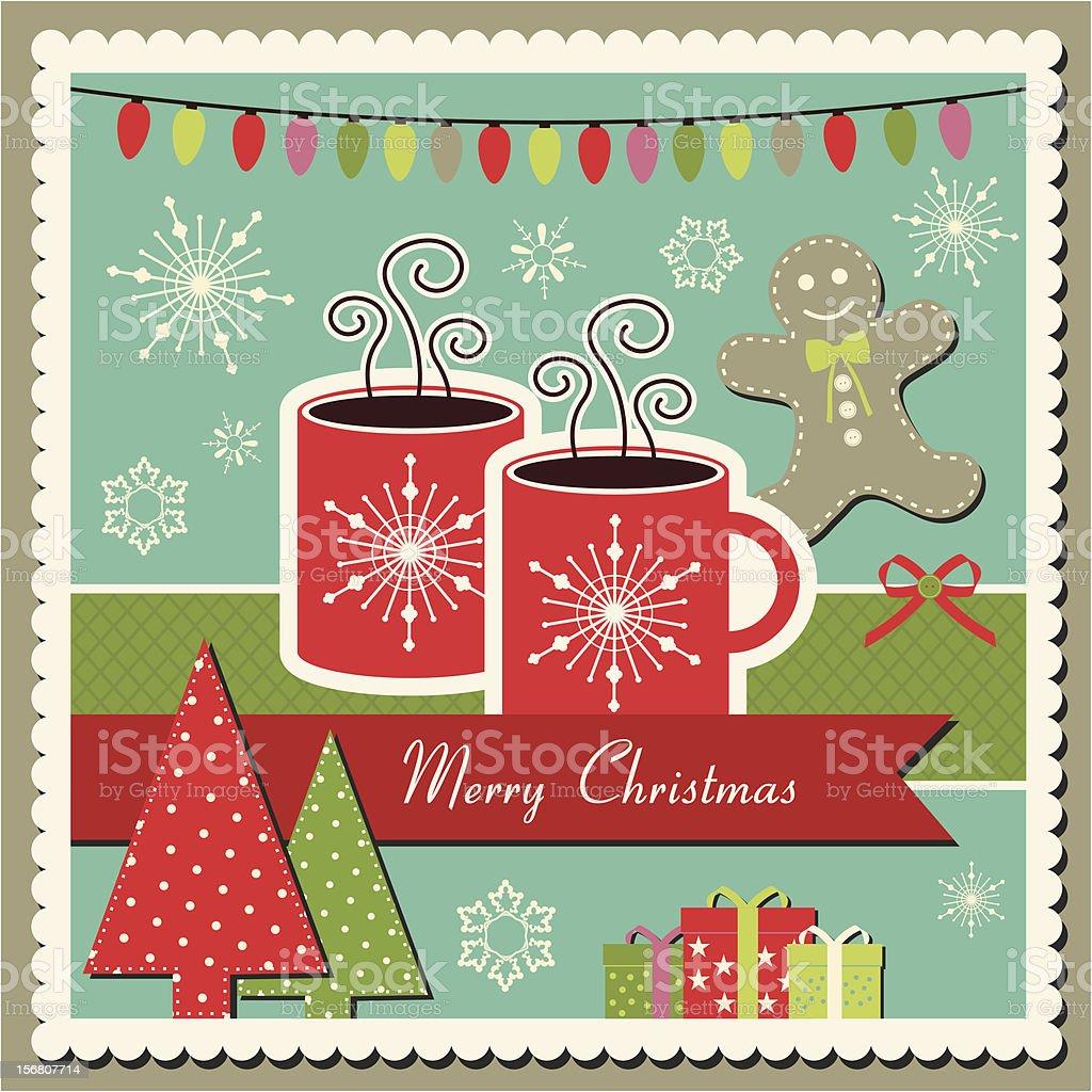 Hot chocolate Christmas card royalty-free stock vector art