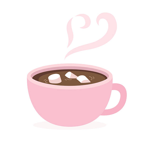 hot chocolate cup Cup of hot chocolate with marshmallows and heart shaped steam. Cute and simple flat style. Isolated vector illustration. hot chocolate stock illustrations