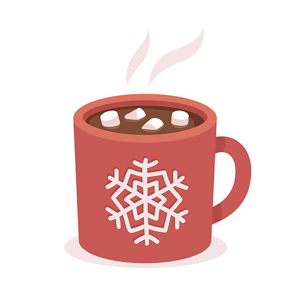 Hot chocolate cup Hot chocolate cup with marshmallows, red with snowflake ornament. Christmas greeting card design element. Isolated vector illustration. hot chocolate stock illustrations