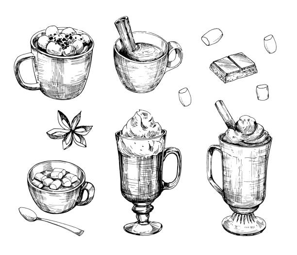 Hot chocolate drink. Outline. Hand drawn illustration converted to vector. Isolated on white background Hot chocolate drink. Outline. Hand drawn illustration converted to vector. Isolated on white background hot chocolate stock illustrations
