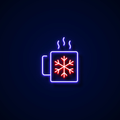 Hot Chocolate Icon Neon Style, Design Elements