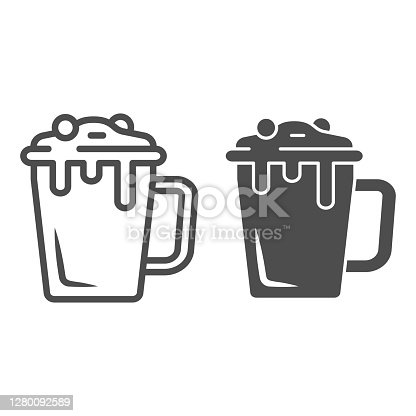 istock Hot chocolate in mug line and solid icon, Chocolate festival concept, Hot chocolate sign on white background, mug with hot drink icon in outline style for mobile concept, web design. Vector graphics. 1280092589