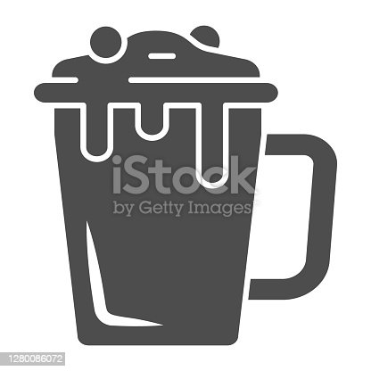 istock Hot chocolate in mug solid icon, Chocolate festival concept, Hot chocolate sign on white background, mug with hot drink icon in glyph style for mobile concept, web design. Vector graphics. 1280086072