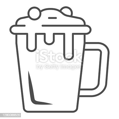 istock Hot chocolate in mug thin line icon, Chocolate festival concept, Hot chocolate sign on white background, mug with hot drink icon in outline style for mobile concept, web design. Vector graphics. 1280088520