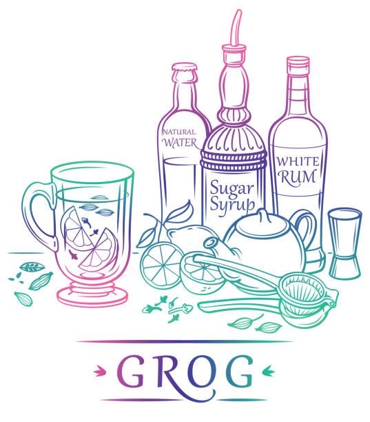 Hot Cocktail Grog mit Zutaten (Zucker-Syryp, weißer Rum, natürliches Wasser, Zitrone, schwarzer Tee, Nelken, Kardamom) und Barmann-Instrumente – Vektorgrafik