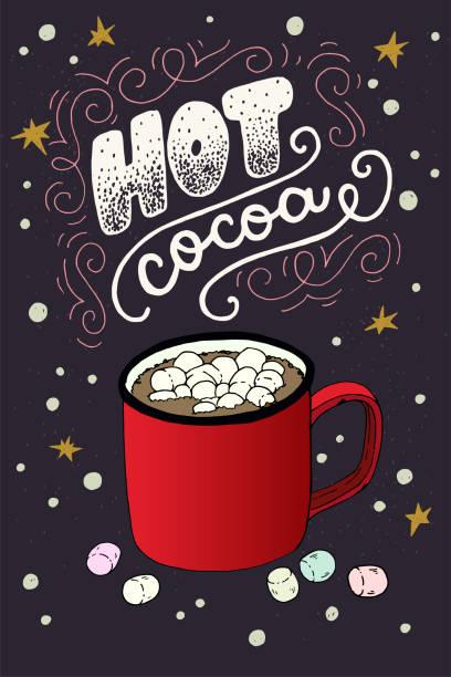 heißer kakao hand schriftzug grußkarte - weihnachtsschokolade stock-grafiken, -clipart, -cartoons und -symbole