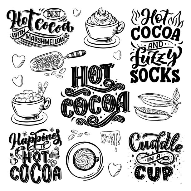 Hot cocoa hand lettering set with cup of cocoa, marshmallows. Hand drawn Christmas signs for cafe, bar and restaurant Hot cocoa hand lettering set with cup of cocoa, marshmallows. Hand drawn Christmas signs for cafe, bar and restaurant. Vector illustration hot chocolate stock illustrations