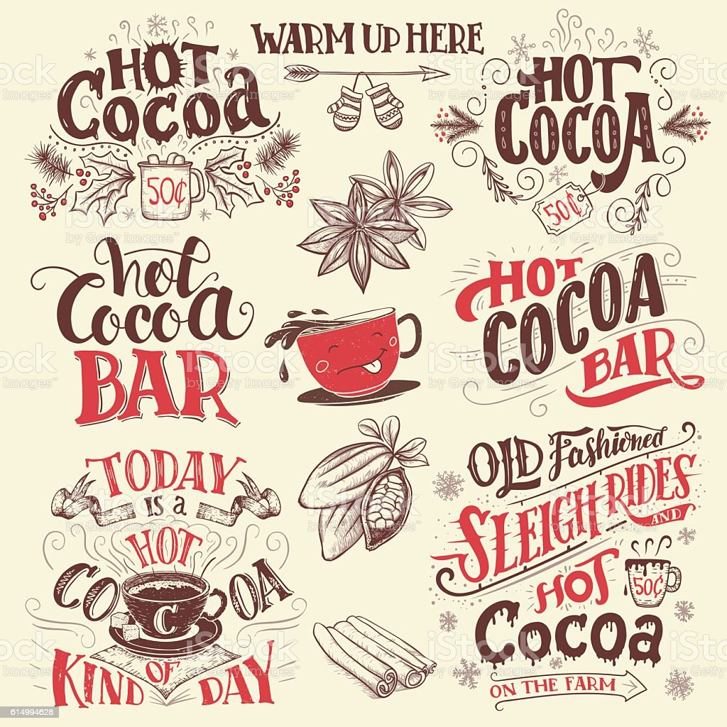 Hot cocoa hand lettering signboards set vector art illustration