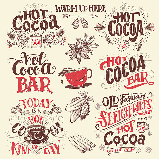 Hot cocoa hand lettering signboards set Hot cocoa hand lettering set with cup of cocoa cartoon character. Hand drawn Christmas signs for cafe, bar and restaurant hot chocolate stock illustrations