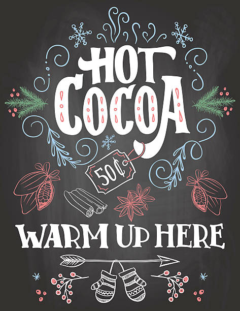 Hot cocoa sign on chalkboard background Hot cocoa, warm up here. Hand lettering chalkboard Christmas sign on blackboard background with color chalk for cafe and cocoa bar. Advertising of hot drink with price tag hot chocolate stock illustrations