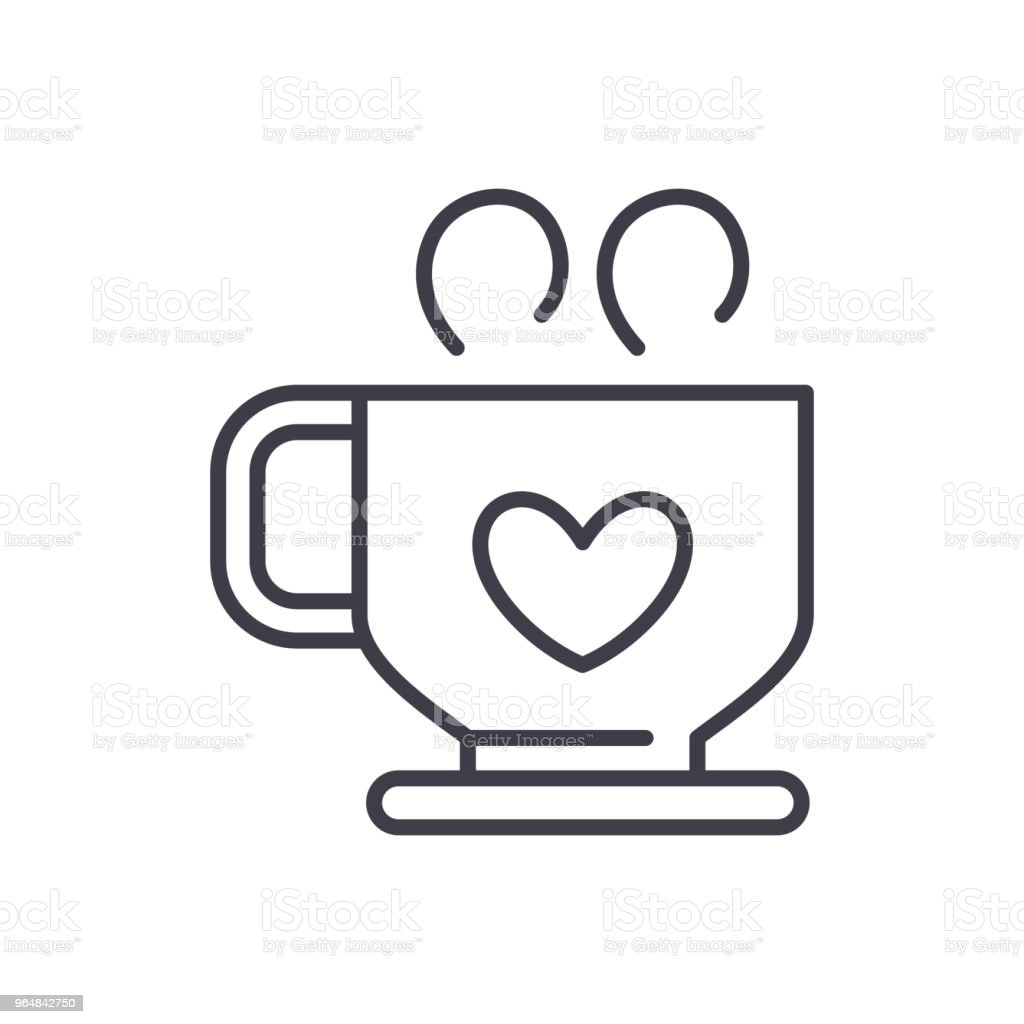 Hot coffee black icon concept. Hot coffee flat  vector symbol, sign, illustration. royalty-free hot coffee black icon concept hot coffee flat vector symbol sign illustration stock vector art & more images of backgrounds