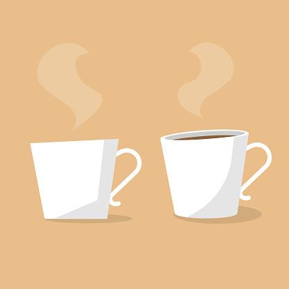 Hot Coffee Cup Flat Design.