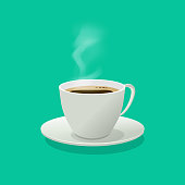 Hot coffee cup glass vector illustration with steam isolated