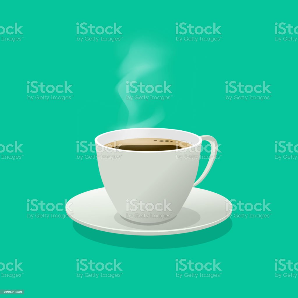 Hot coffee cup glass vector illustration with steam isolated vector art illustration