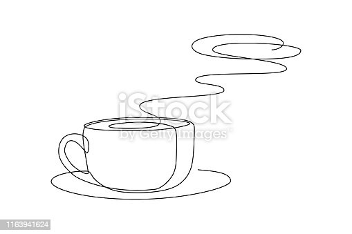 Hot coffee cup with aroma steam above in continuous line art drawing style. Black line sketch on white background. Vector illustration