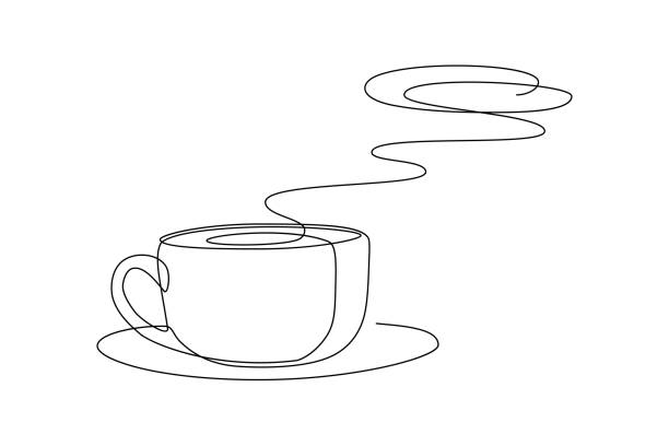Hot coffee cup Hot coffee cup with aroma steam above in continuous line art drawing style. Black line sketch on white background. Vector illustration contour line stock illustrations