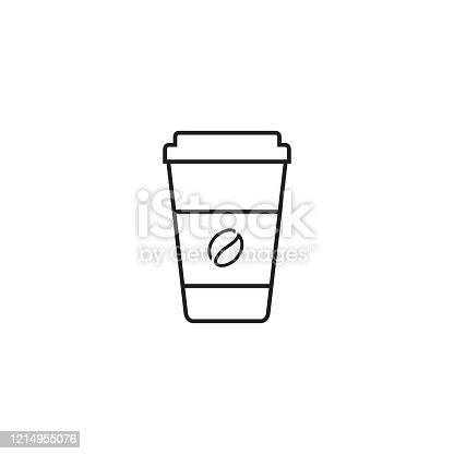 Hot coffee cup vector line icon illustration isolated on white background