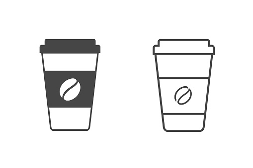 Hot coffee cup vector line icon set illustration isolated on white background