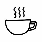 Hand-drawn style illustration of a cup with hot coffee. Black outlines on white background.