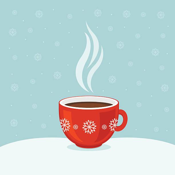 ilustrações de stock, clip art, desenhos animados e ícones de hot coffee in red cup. winter background. christmas card. - chá bebida quente