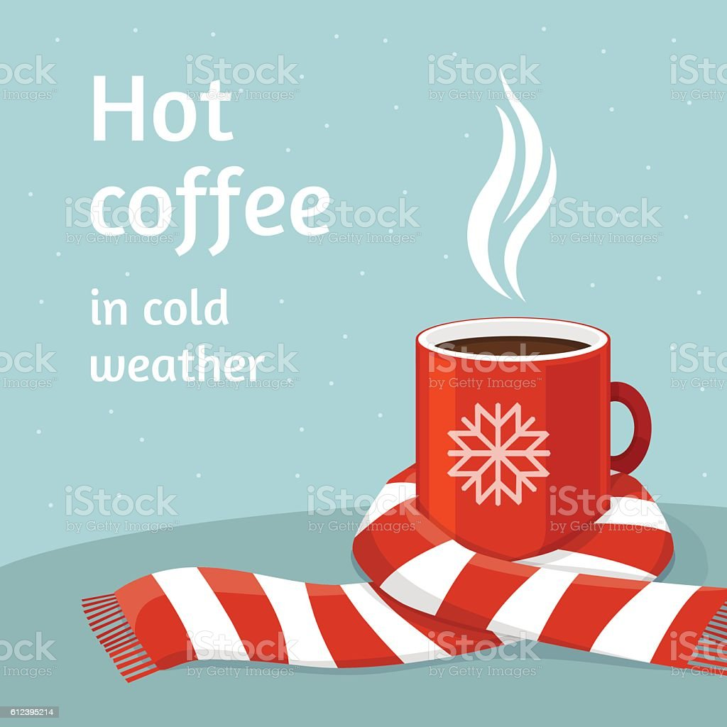Hot coffee in red cup.Cup of coffee swathed in scarf. vector art illustration