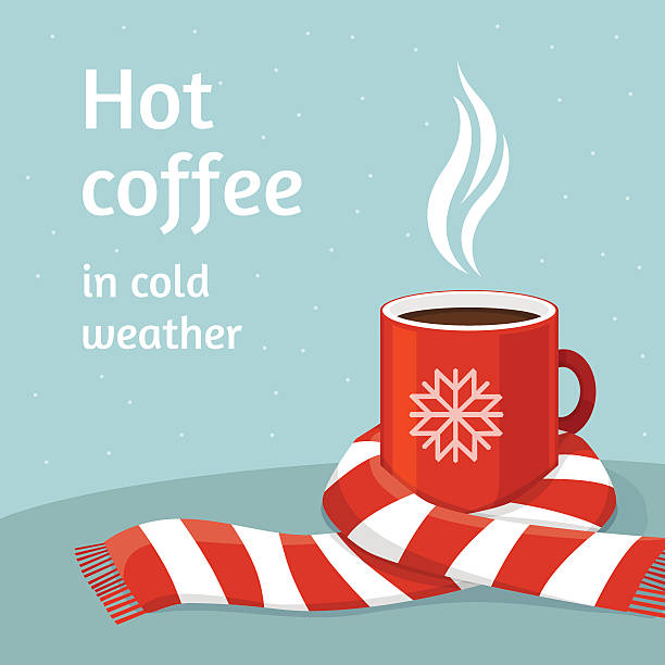 hot coffee in red cup.cup of coffee swathed in scarf. - schals stock-grafiken, -clipart, -cartoons und -symbole