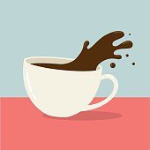 Vector illustration of a cup of hot coffee