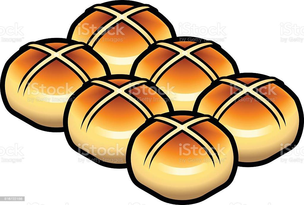 Hot Cross Bun vector art illustration