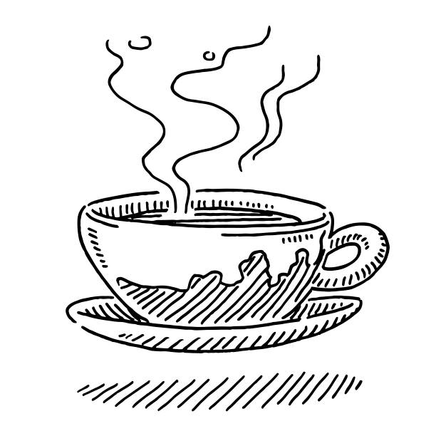 hot cup of coffee drawing - coffee stock illustrations, clip art, cartoons, & icons