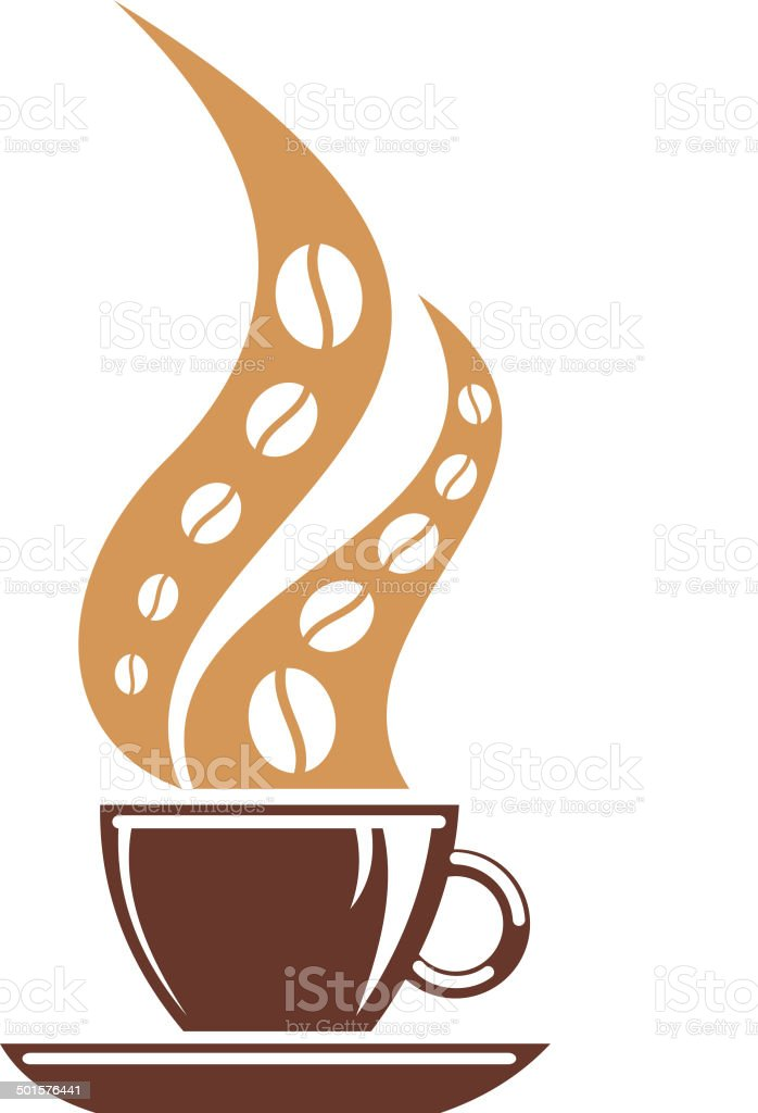 Hot cup of coffee with coffee bean steam royalty-free stock vector art