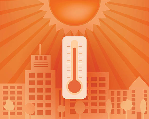 Hot day in the city with thermometer. Vector summer concept. Hot day in the city with sun and thermometer. Vector summer concept. heat wave stock illustrations