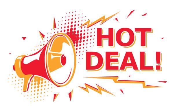 Hot deal - advertising sign with megaphone decorative vector artwork topics stock illustrations