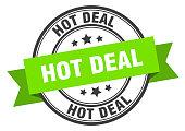 hot deal label. hot deal green band sign. hot deal