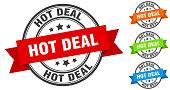 hot deal stamp. round band sign set. ribbon label