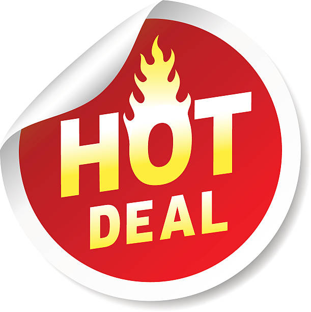 Hot deal sticker badge with flame vector art illustration