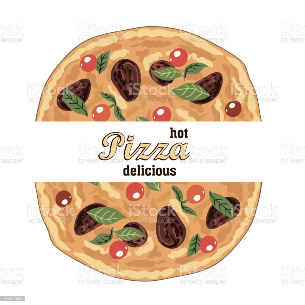 hot delicious Italian pizza and ingredients vector art illustration